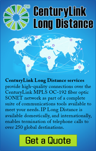 CenturyLink Long Distance services provide high-quality connections over the CenturyLink MPLS OC-192 fiber optic SONET network as part of a complete suite of communications tools available to meet your needs. IP Long Distance is available domestically, and internationally, enables termination of telephone calls to over 250 global destinations.